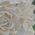 Modern vintage white rose hydrangea wedding cake close up 1