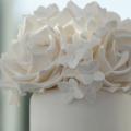 Modern vintage white rose hydrangea wedding cake close up 2