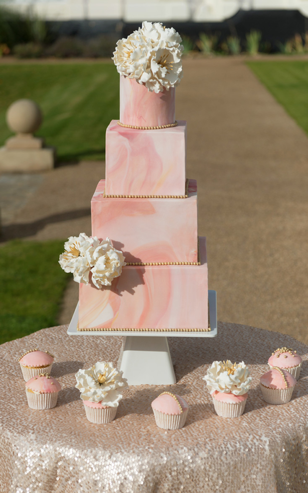 Asian Wedding Cake custom designed modern marble peony 4 tier cake