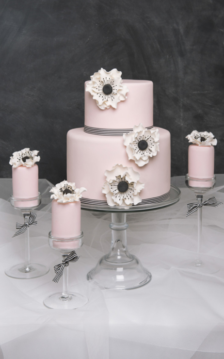Pink simple wedding cake